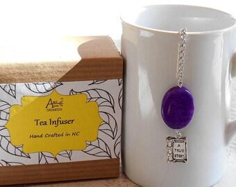 Book Tea Infuser, Lead Free Charm, Purple Magnesite, Books and Tea, Tea Steeper, Unique Tea Gift, Book Nerd Gift, Gift Boxed, Hot Tea