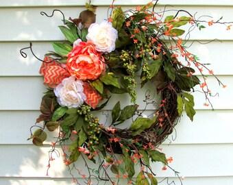 All season wreath, Rustic wreath, front door, every day wreath, berry wreath, twig wreath, rustic wall decor, country home decor, farmhouse