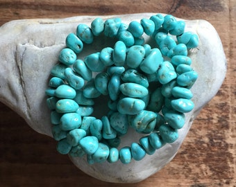 """Beautiful Light Robin's Egg Blue Campitos Turquoise Nugget Beads, 3.5mm - 11mm, 16.5"""" Strand"""