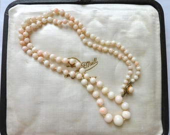 Edwardian Graduated Angelskin Coral bead necklace