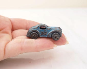 Antique diecast toy car- Blue Roadster- Tiny Toy Car- 1930's- 1940's Gangster Car- Unmarked- Lead Slush? Hubley? Barclay? Vintage Automobile