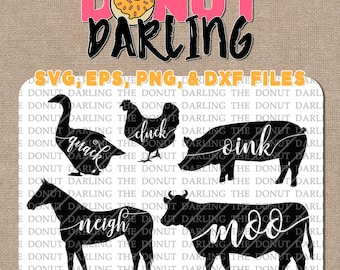 Instant Download: Farmhouse Farm Cow Pig Horse Chicken Duck  svg / eps / png / dxf File Oink Quack Moo Neigh Cluck Farm Animal Silhouette