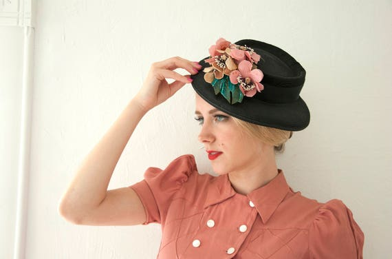 Vintage black 1940s hat, pink flowers floral, turquoise blue feathers, 1950s 1930s formal
