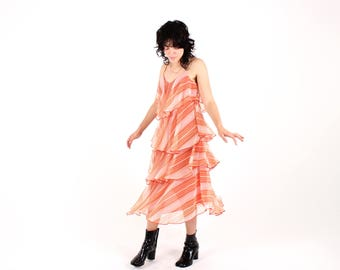 Divine 70s Origami Cascading Layered Ruffle Pastel Apricot Peach Pink Party Cocktail Dress - SO Gucci