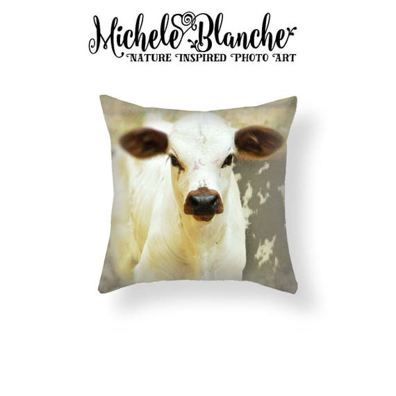Calf Photo Pillow Baby Cow Pillow Cover Rustic Farm House