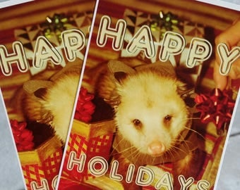 Cute Opossum Vintage Style Holiday Post Card