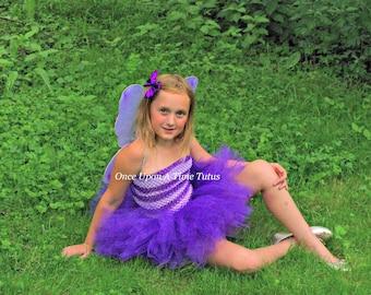 Purple Stripe Tutu Dress - Short Length Girls Size 3 6 9 12 18 Months 2T 3T 4T 5T 6 7 8 10 Halloween Costume Kids Birthday Party Tutu Dress