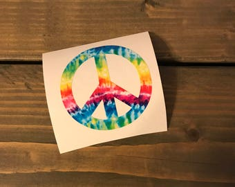 Tie Dyed Peace Sign Vinyl Decal, Tie Dye, Hippie, Peace, Love, Flower Power, Phone Decal, Car Decal, Yeti Decal, Computer, Limited Supply