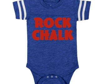 Rock Chalk KU baby, college basketball, college football baby, KU baby, KU Alumni, gifts for new dad, Kansas Jayhawks, Jayhawk baby