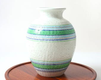 Vintage Bitossi pottery vase - Fascie Colorate 1970s - Aldo Londi - Italian pottery - retro decor - pop art - white coloured stripes