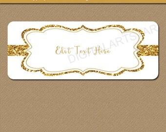 Gold Address Labels, Fancy Address Labels, Gold Wedding Labels, Elegant Address Labels, Gold Glitter Return Address Sticker Template B4