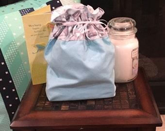 Pretty Blue Drawstring Bag