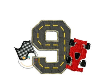 Red speedway racer birthday number 9 iron on applique, embroidered race track with race car iron on fabric patch, race car birthday number 9