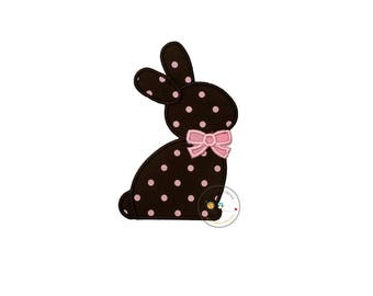 Chocolate brown Easter bunny sillouette with pink bow tie fabric machine embroidered applique for clothing, patch for kids clothing