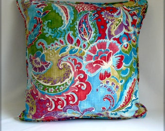 """Bright mulit-colred print on cotton, 20"""" pillow"""