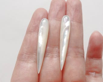 White Mother of Pearl MOP Upside down Half Drilled Icicle Spike Drops 6x35 mm One Pair J5753