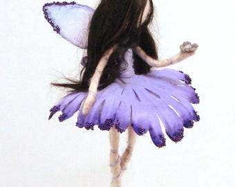 Flower fairy doll. Waldolf inspired fairy.  Felted flower fairy. Spring fairy art doll. Fairy  hanging decor. Purple Fairy.