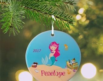 Personalized Kids Ornament - Mermaid Sea Floor Shells Ship, Children Christmas Ceramic Circle Heart Snowflake Star