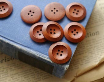 "Large 10 pcs Dark Reddish Brown Wood Buttons 30mm 1 1/8"" (WB867)"