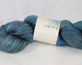 DK Weight Silk and Wool Blend, Hand Dyed in Poseidon Colorway