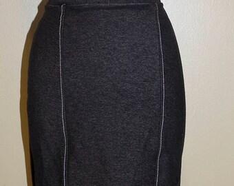 Sample Sale, Stretch Black Organic Cotton Denim Pencil Skirt, Size Small