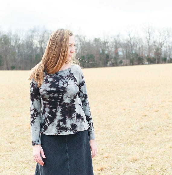 River Shirt, American Grown Organic Cotton Shibori Shirt, Eco Friendly Women's Fashion