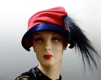 "1940's Pink Felt Hat Asymmetrical Crown with Navy Velvet Trim and Large Feather Plume - LA Designer ""Caspar Davis"""
