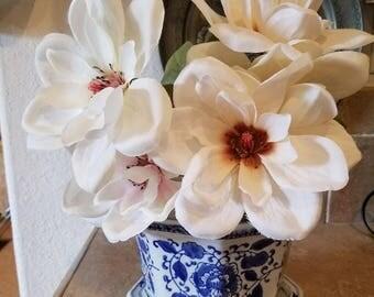 Porcelain blue white flower pattern vintage pottery planter pot with saucer Asian