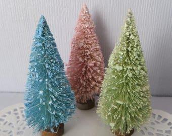"SET of 3 Flocked bottle brush trees, 4-1/4"" to 4-1/2"",vintage style,Christmas,Easter,glittered,pink,green,aqua"