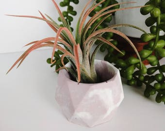 PINK Marbled Concrete Candle Holder #9, Marbled Concrete Mini Planter, Marbled Concrete Bowl