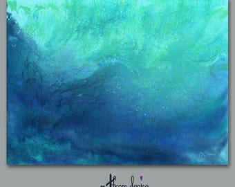 Teal blue Abstract metal print, Large wall art, Office artwork, Home decor