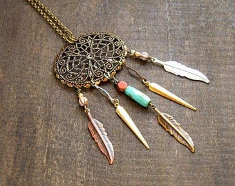 Large Medallion Dreamcatcher Necklace Native American Dream Catcher Jewelry Feather Dreamcatcher Necklace Statement Dream Catcher Necklace