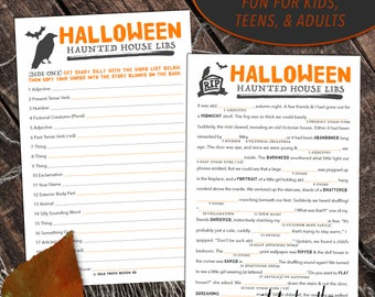 Halloween Mad Lib Party Game for Adults Kids & Teens