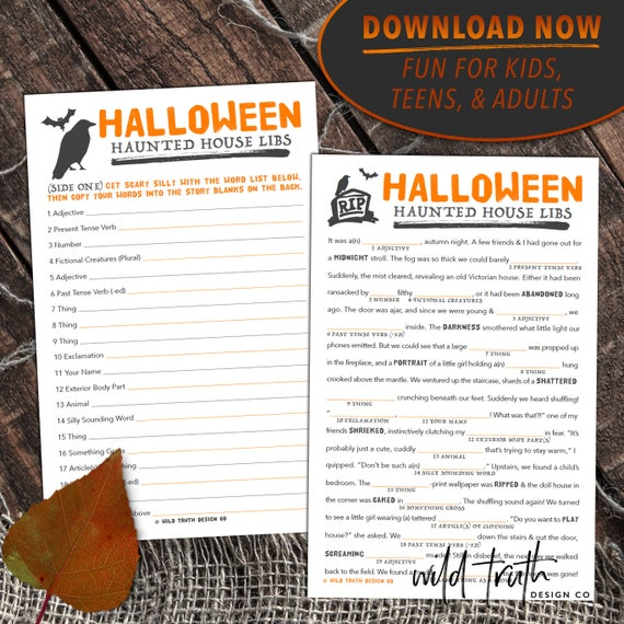 Mad Lib Halloween Party Game for Adults Kids & Teens