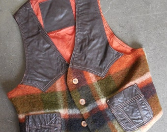 VTG Comstock Load Rust/Brown Leather and Wool Vest Sz 42 Western Ranchwear