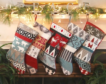 Family Christmas Stocking Set, Personalized, Quilted, Spruce, Cinnamon Red, Teal, Black Stockings, Christmas Decor, Handmade, Nordic