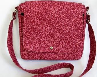 Large messenger bag- Mauve pink tendril cotton
