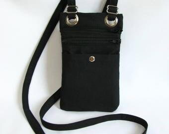 Small hip bag- Black cotton