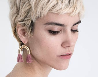 NEW Tassel Statement Earrings / short pink fringe / gold tube arch / fun holiday party jewelry / fashion gift for her