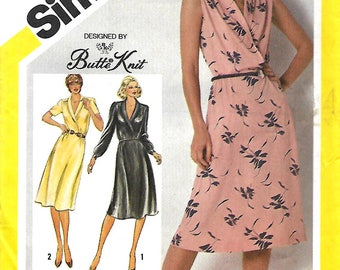 Simplicity 9956 Butte Knit Mock Wrap Bodice Dress Pattern, 12, 14 & 16, UNCUT