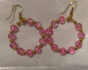 Pink Ice Gold Hoops 4mm
