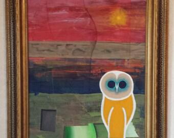 Orange Owl - Acrylic on Canvas Board