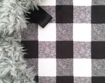 Lovey Black and Cream Buffalo Check. Lovey. Black Lovey. Check Lovey. Plaid Lovey. Mini Baby Blanket. Security Blanket. Lovie. Minky Lovey.