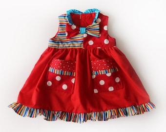 Baby Girl Clown Costume Cute Circus Dress Handmade Unique Sz 1 - Ready to Ship