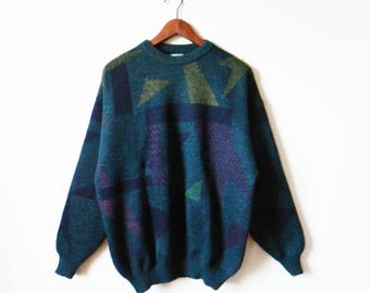Deep Green Vintage Geometric Mens Sweater / Cozy Geo Triangle Sweater / Forest Green Pullover Sweater