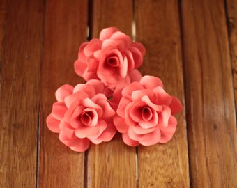 30 Pcs Coral  Paper Roses for Weddings and Craft Projects