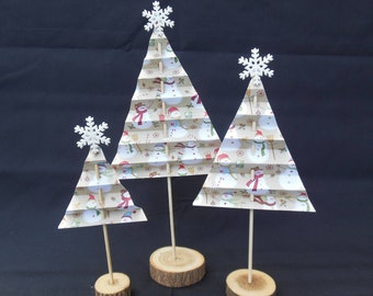 Winter/Snowman/Christmas Paper Trees Assortment Set of 3