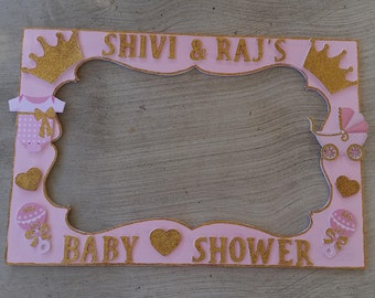 Birthday, Baby Shower, Wedding,Gold and Pink Quince Baby Shower/Birthday or any colors and theme Party Photo Prop Frame