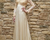 1970s Cream & Lace Wedding Dress, Satin Dress w/ Beading and Lace Wedding Gown, Long Sleeve Semi Sheer Bridal Gown, Seventies Boho Wedding