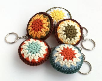 Key Ring Keychain Keyring / Bag Charm / Secret Santa Coworker Gift Small Gift / Bright Fun Round Rainbow Crochet Accessory / Eco-friendly
